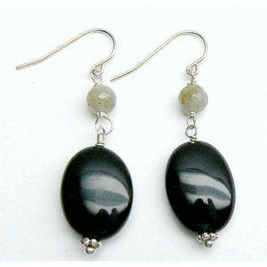 Dillard's Black Onyx & Labradorite silver Earrings